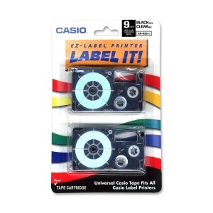 Casio Label Printer Tape For CWL-300 - 9mm Tape, Black-On...