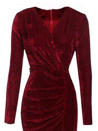 Il V A Vestito Sexy Per Vino Donne Del Vestito Wrap Mezzo Partito Jaycargogo Lavoro Scollo Elegante Casuale Manica Ed Dress Con Velluto Rosso nPx5vfqZv