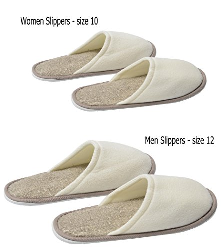 Spa Shoe Slippers with Sole Wellness Eva Men Taupe Cream Polyester Size 12 EVIDECO Ramie for WEfZznqvqX