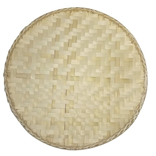"NewFerU Food Serving Tray Table Storage Plate Platter with Handles for 12"" Dome Lid Cover Bamboo Woven,Keep Out Flies Bugs for Picnic Party Bread,Cake,Pizza,Dry Fruit,Dessert,Indoor Outdoor (Natural)"