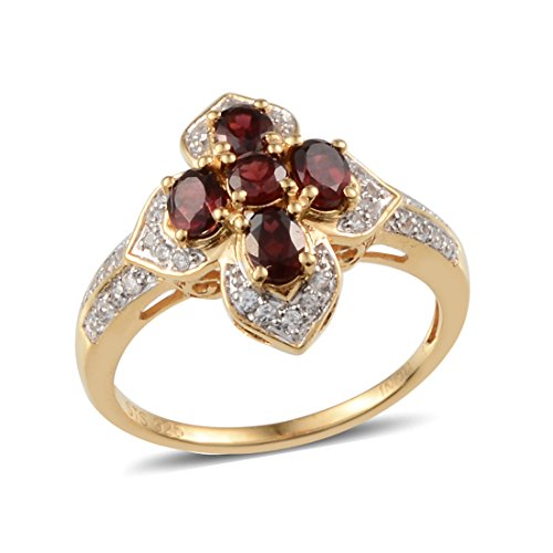 Pyrope Garnet, Zircon Yellow Gold Plated Silver Cocktail Ring 1.26 cttw. Size 7