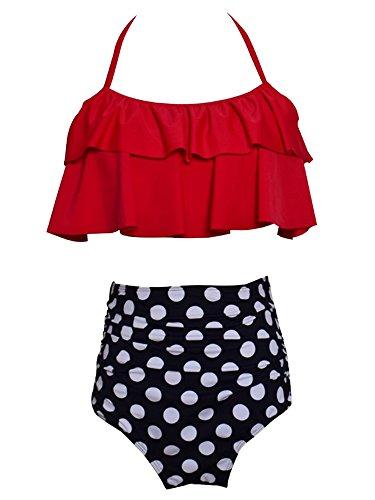 Mini Ruffled Bikini (Huiyuzhi Women's Off Shoulder Floral Print Flounce Two Piece Swimsuit High Waist Ruffled Bikini)