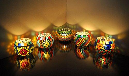 - Lalhaveli Mosaic Glass Candle Holder Set 5