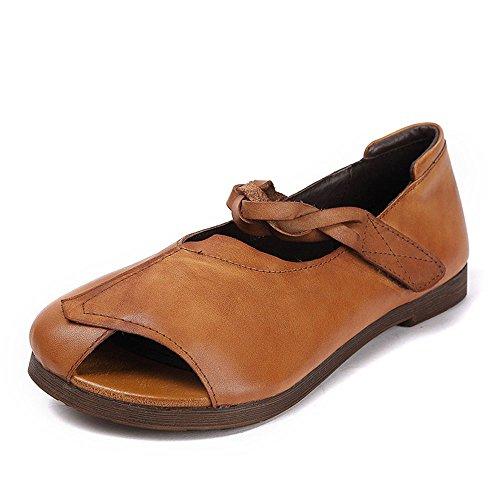 Señoras de Zapatos Transpirable pie Estilo de Las Romano Albaricoque del Inferior Ocasionales Parte la Verano Cuero de Suave Sandalias Expuesto de gdHqgx