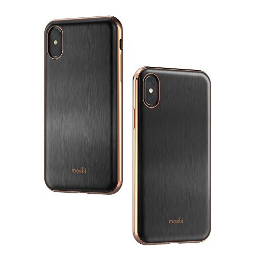 Moshi iGlaze Stylish Slim Fit Lightweight Snap-On hybrid Drop Protection for iPhone X (Black)