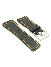 DASSARI Cayenne Black w/ Orange Stitching Saffiano Leather Watch Band for Bell & Ross size 24mm