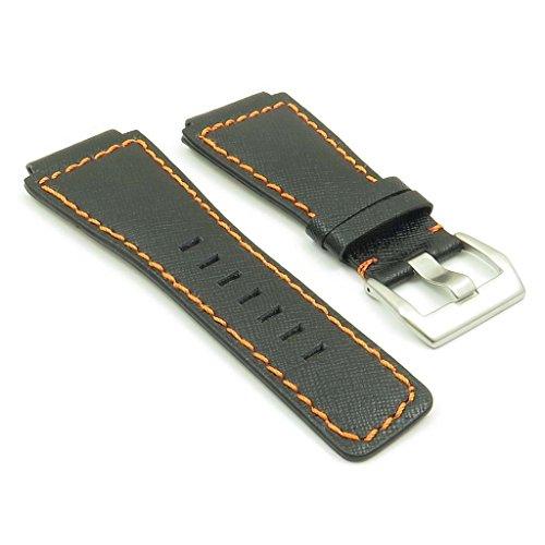 dassari-cayenne-black-w-orange-stitching-saffiano-leather-watch-band-for-bell-ross-size-24mm