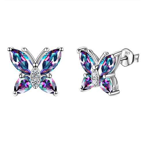 (Aurora Tears Mystic Rainbow Studs Butterfly 925 Sterling Silver Mystic Topaz Earrings Stud Butterflies Minimalist Animal Earring DE0078M)