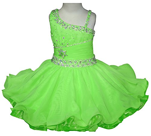 HuaMei Baby Girls One Shoulder Chiffon Beaded Cupcake Pageant Dresses 2T US Lime Green