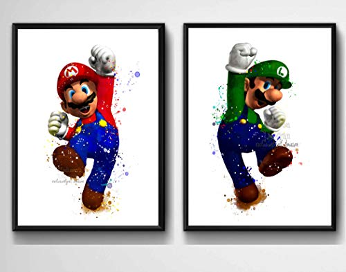 (Super Mario Brothers Inspired Digital Prints, Watercolor Painting Effect, Illustration, Nursery Decor, 8 X 10 Unframed)