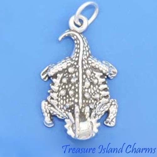 Horned Lizard Horny Toad .925 Sterling Silver Charm Pendant Reptile MADE IN USA Jewelry Making Supply Pendant Bracelet DIY Crafting by Wholesale Charms by Wholesale Charms (Image #2)
