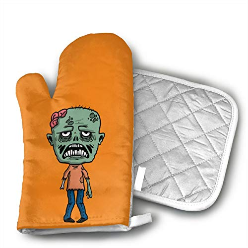 Happy Halloween Funny Zombie Oven Mitts and Pot Holders Set with Polyester Cotton Non-Slip Grip, Heat Resistant, Oven Gloves for BBQ Cooking Baking, Grilling