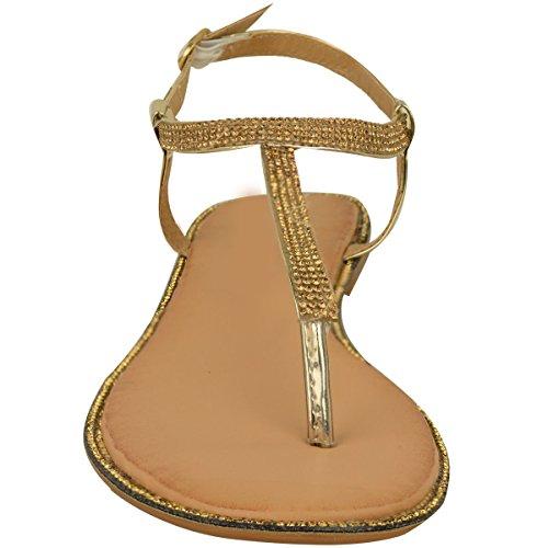 T Cinturino Basse Strass Alla Metallizzato Bar Oro Sandali Numeri Infradito Nuovo Con Donna donna Sandali Scarpe Caviglia P84nYFq