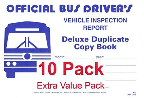 J.J. Keller 902 (25B) Bus Driver's Vehicle Inspection Report 2-Ply w/Carbon - Extra Value Pack of 10 by J. J. Keller