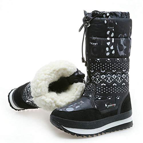 3 Plate Pour Mi Air D'hiver Plein Femmes Mollet Hiver forme Chaussures La Bottes noir Neige Peluche Chauds Chaud Imperméable pCqPT