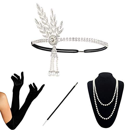 Silver Bead Set - 1920s Accessories Set Flapper Costume Women (S4-HASliver)