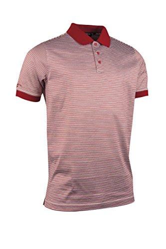 Glenmuir Mens MSL7371 Rib Cuff Narrow Stripe Mercerized Cotton Golf Polo Shirt Garnet/White S