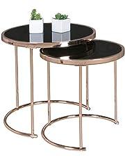 FineBuy Tafel Set Bijzettafel set van 2 Glas en Metaal | Ronde Tafel Woonkamer | Moderne Nesttafel Glazen Tafel