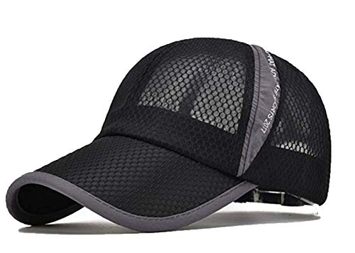 Susclude Men's Outdoor Quick Dry Cap Adjustable Lightweight Mesh Running Hat Black