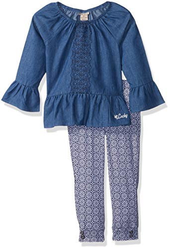 (Lucky Sets Girls' Little' 2 Pieces Tunic Legging Set, Medium wash/Print, 6X)