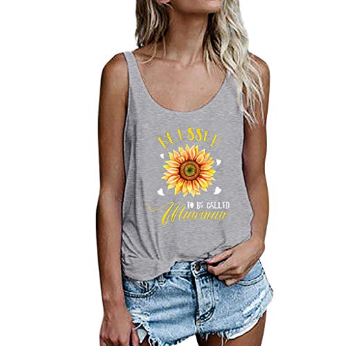 Women's Tank Tops,2019 New Casual Short Sleeve Sunflower Print Loose Fit T-Shirt Tunic Tops Blouse (XXL, Gray)