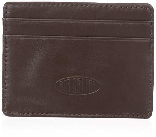 Big Skinny Open Sided Leather Card Wallet, Holds Up to 9 Cards, Brown (Leather Open Sided Mini Skinny Card Case)