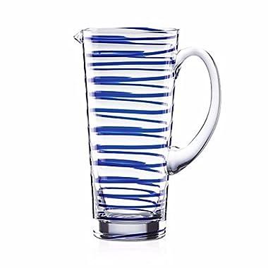 Kate Spade Lenox New York Charlotte Street Glass Pitcher Cobalt Blue Rings Modern NEW