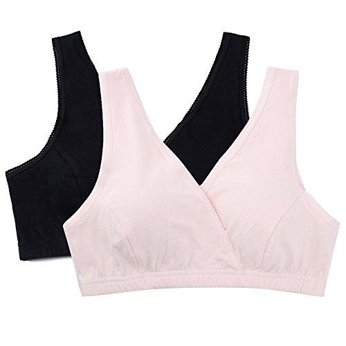 Topwhere® Suave EnfermeríA SueñO Sujetador De Maternidad / De Lactancia Pink+Black