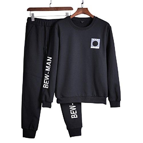 Sun Lorence Men's Slim Fit Print Pullover Active Sweat Suit Athletic Tracksuit Set