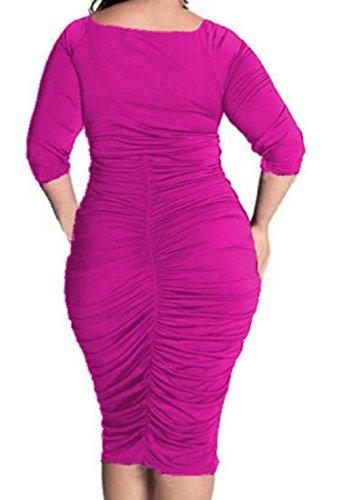 Rosa Scollo A Tunica Vestito Esotico Dell'anca Comodi Il Pacchetto Formato Più Donne V Solido Rossa 7nwOvS4