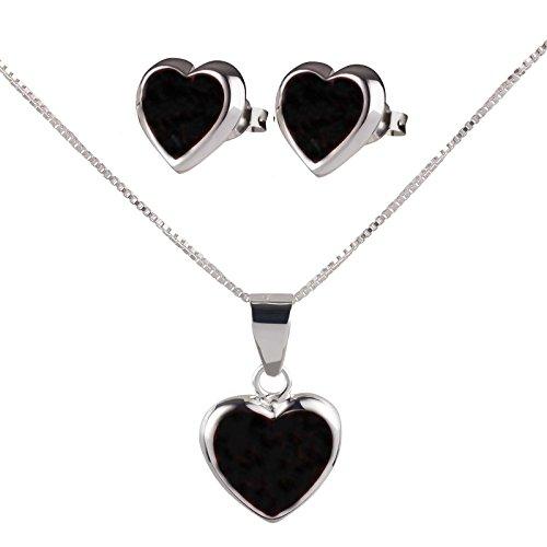 SL de Silver Set Cadena Colgante Pendientes Corazón Piedra de luna 925plata en caja de regalo