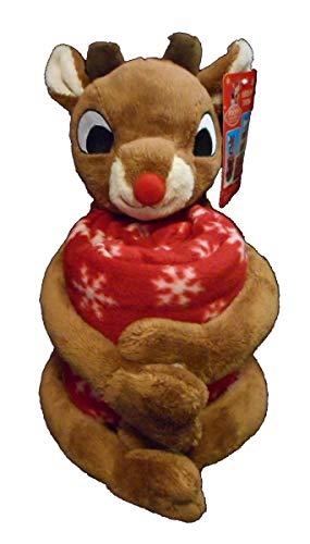 Rudolph The Red-Nosed Reindeer Christmas Plush Doll Fleece Throw Blanket (Rudolph)