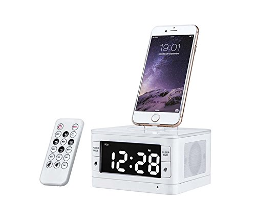 MHCOZY Wireless Bluetooth Speakers 8 Pin Charger Dock Station FM Radio Alarm Clock Desktop Speakers (White)