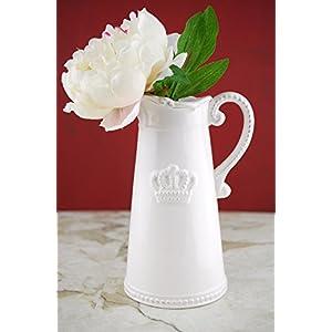 Crown Ceramic White Pitcher 9.5in - Excellent Home Decor - Indoor & Outdoor 21
