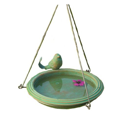 Ancient Graffiti Ceramic Teal Round Hanging Bird Bath AG-17026