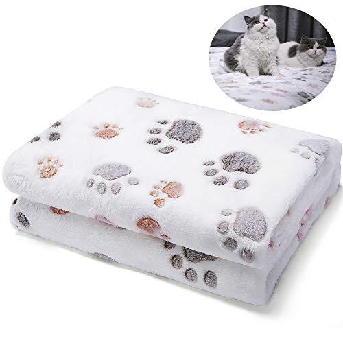 Allisandro Durable Dog Blanket - Pet Premium Fluffy Flannel Fleece Puppy Throw Blanket - Soft and Cute Paw Design, White, 31x24 -