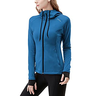 TSLA Women's Lightweight Active Performance Full-Zip Hoodie Jacket