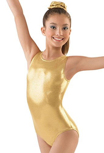 (Balera Leotard Girls One Piece For Gymnastics With Metallic And Racerback For Practice And Competition Gold Child Small)