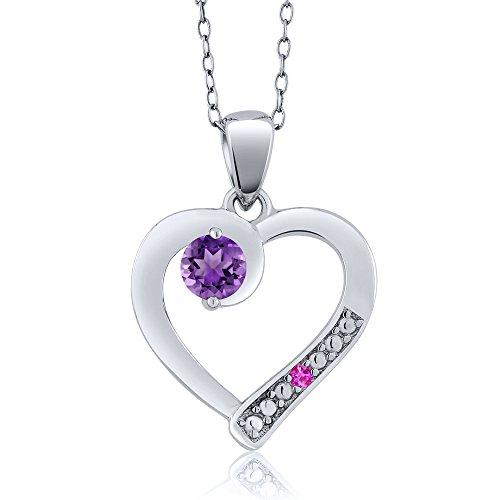 0.26 Ct Round Purple Amethyst Pink Sapphire 925 Sterling Silver Pendant (Round Purple Sapphire)
