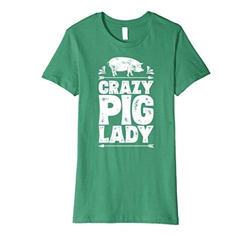 Womens Crazy Pig Lady T shirt Funny Pigs Farm Poultry Farmer Gifts Medium Kelly (Farmer Pig)