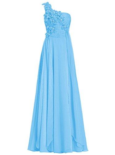 Dresstells®Vestido De Fiesta Largo Un Hombro Con Flores Vestido De Madrina De Fiesta Azul
