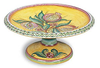 Hand Painted Melograno Fresco Shallow Footed Fruit Bowl From Italy