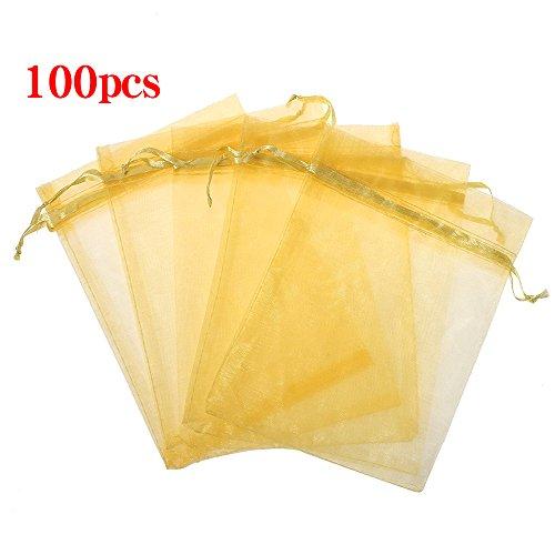 Mesh Bag Gold (Boshen 100/200PCS Organza Gift Candy Sheer Bags Mesh Jewelry Pouches Drawstring Bulk for Wedding Party Favors Christmas 3