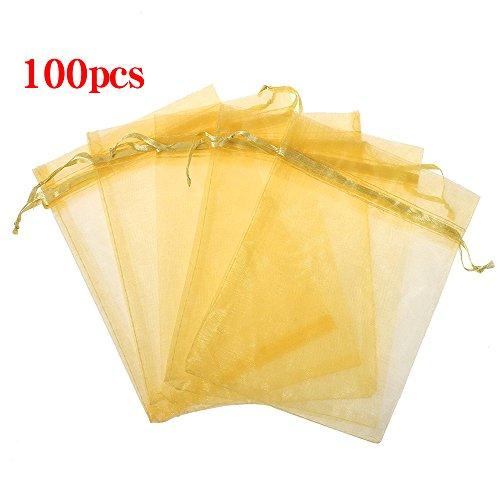 Bag Gold Mesh (Boshen 100/200PCS Organza Gift Candy Sheer Bags Mesh Jewelry Pouches Drawstring Bulk for Wedding Party Favors Christmas 3
