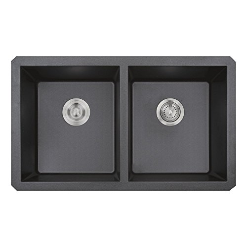 Granite Double Kitchen Sink : Zuhne Rialto 32 Inch 50/50 Double Bowl Undermount (E-granite Double Bowl Undermount Sink)
