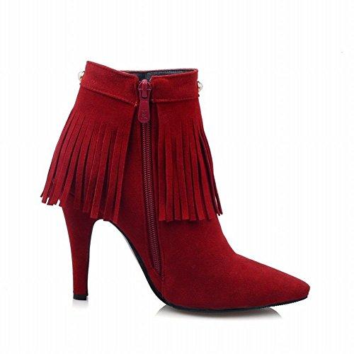 Carolbar Womens Zip Nappe Con Borchie A Punta Tacco Tacco Alto Sexy Rosso