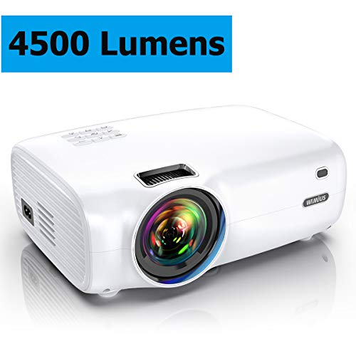 Projector, WiMiUS P30 4500 Lumens Mini Projector HD 1080P Support 200″ Display Zoom Function 60,000 Hrs Compatible with USB PC Laptop PS4 Smartphone for Home Entertainment