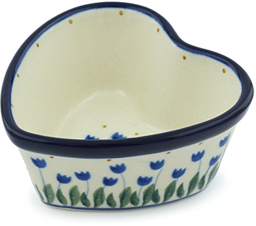 - Polish Pottery 3½-inch Heart Shaped Bowl made by Ceramika Artystyczna (Water Tulip Theme) + Certificate of Authenticity