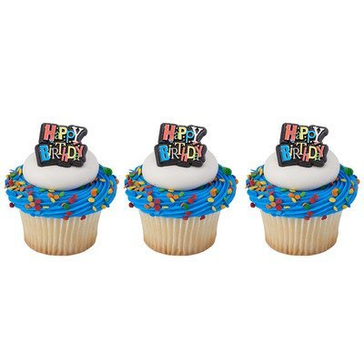 24 Pack Happy Birthday Shimmer Cupcake Rings Cake Toppers ()