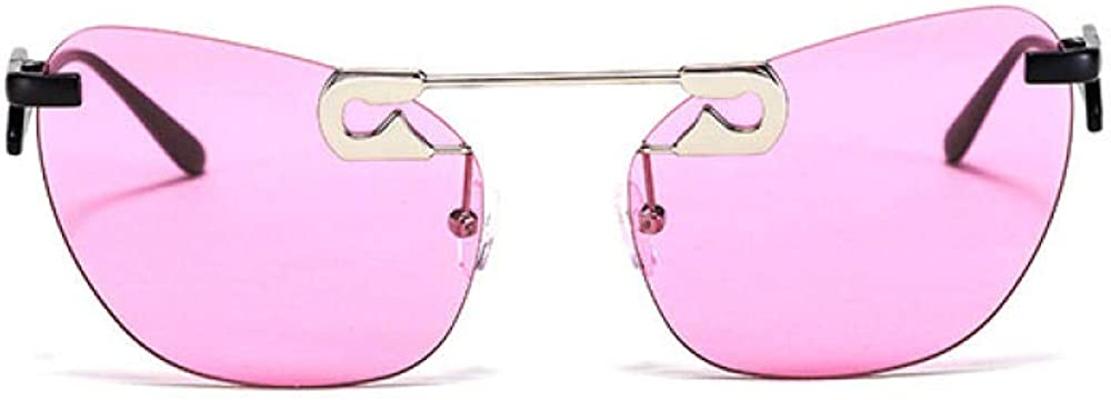 Cat Eye Frameless Sunglasses Retro European and American Personality Fashion Sunglasses Fashion Silver Purple